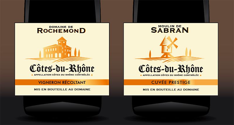 Etiquettes de Côtes du Rhône