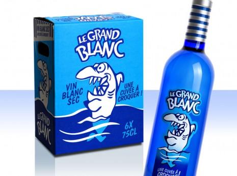 Bouteille et carton Grand Blanc, vin blanc sec du Pays d