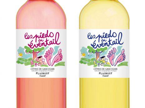 étiquettes de vins des Côtes de Gascogne pour un rosé et un blanc