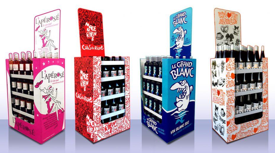 Création de présentoirs en carton pour bouteilles de vin