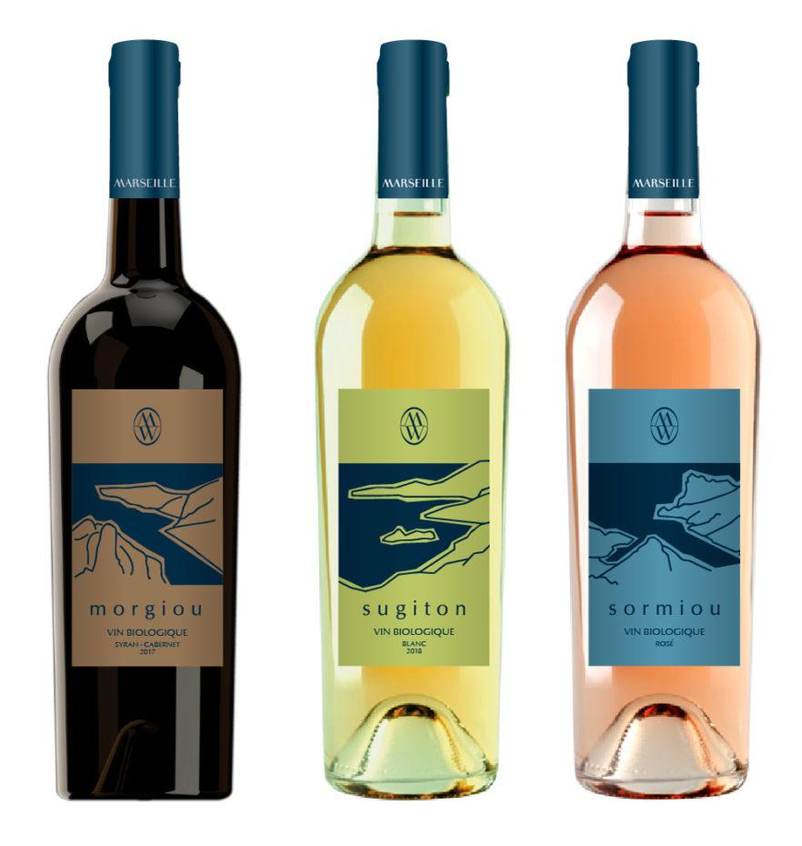 Création étiquettes de vin : le trio des calanques