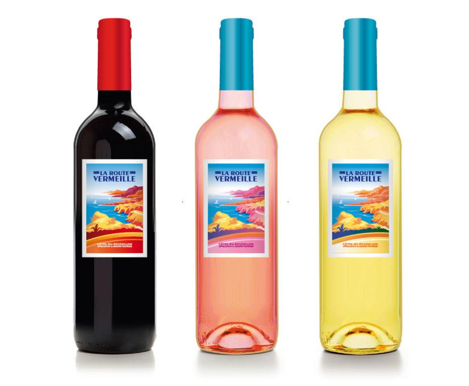 création etiquettes de vin  la route vermeille