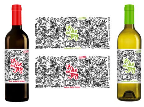 """Étiquettes de vin """"LA VIE EN JOY"""" réalisées pour le Domaine de Joÿ par Toto PISSACO"""